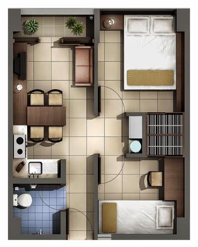 sketsa denah rumah type 36 2 kamar 1 lantai