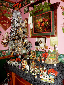 Halloween Decor in the Dining Room, 2014, Tree and Village
