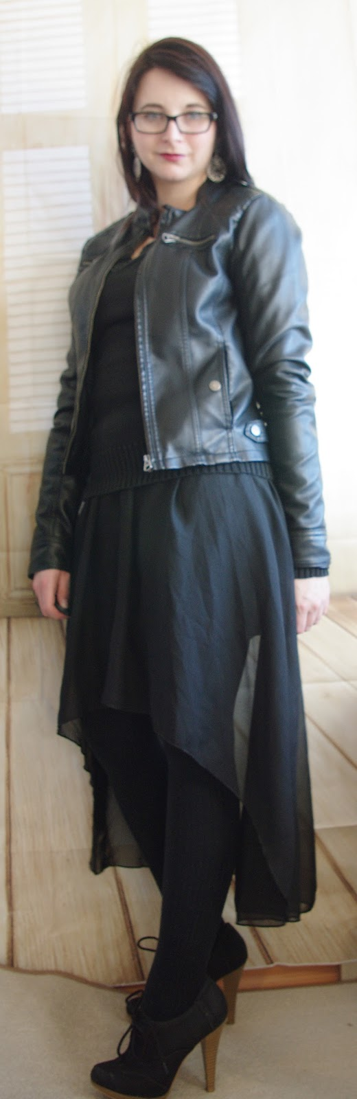 Black Vokuhila Skirt with Leather Jacket