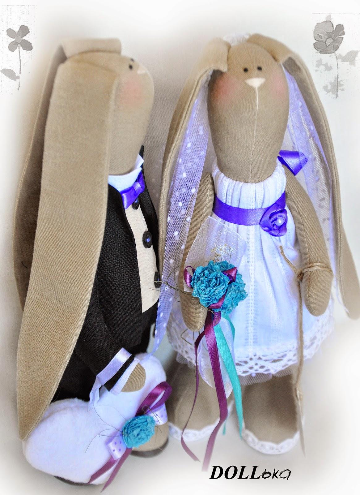 свадебные зайки ручной работы
