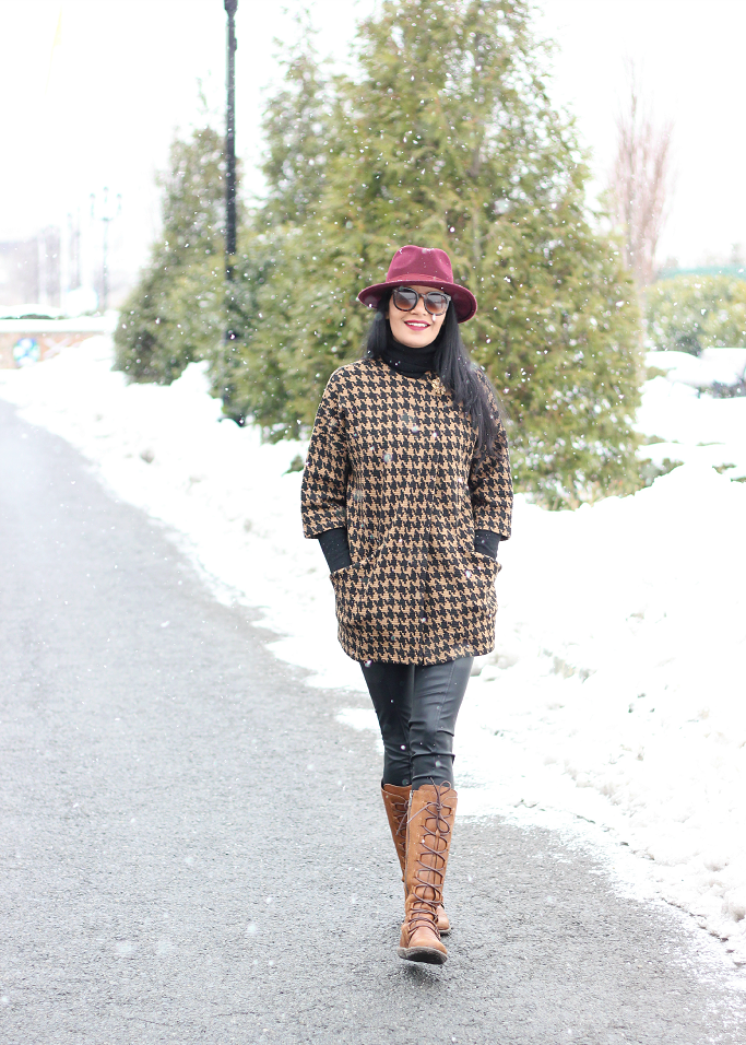 Forever 21 HOundstooth Coat, Houndstooth Jacket, Brown Houndstooth Coat, Burgundy Wool Fedora
