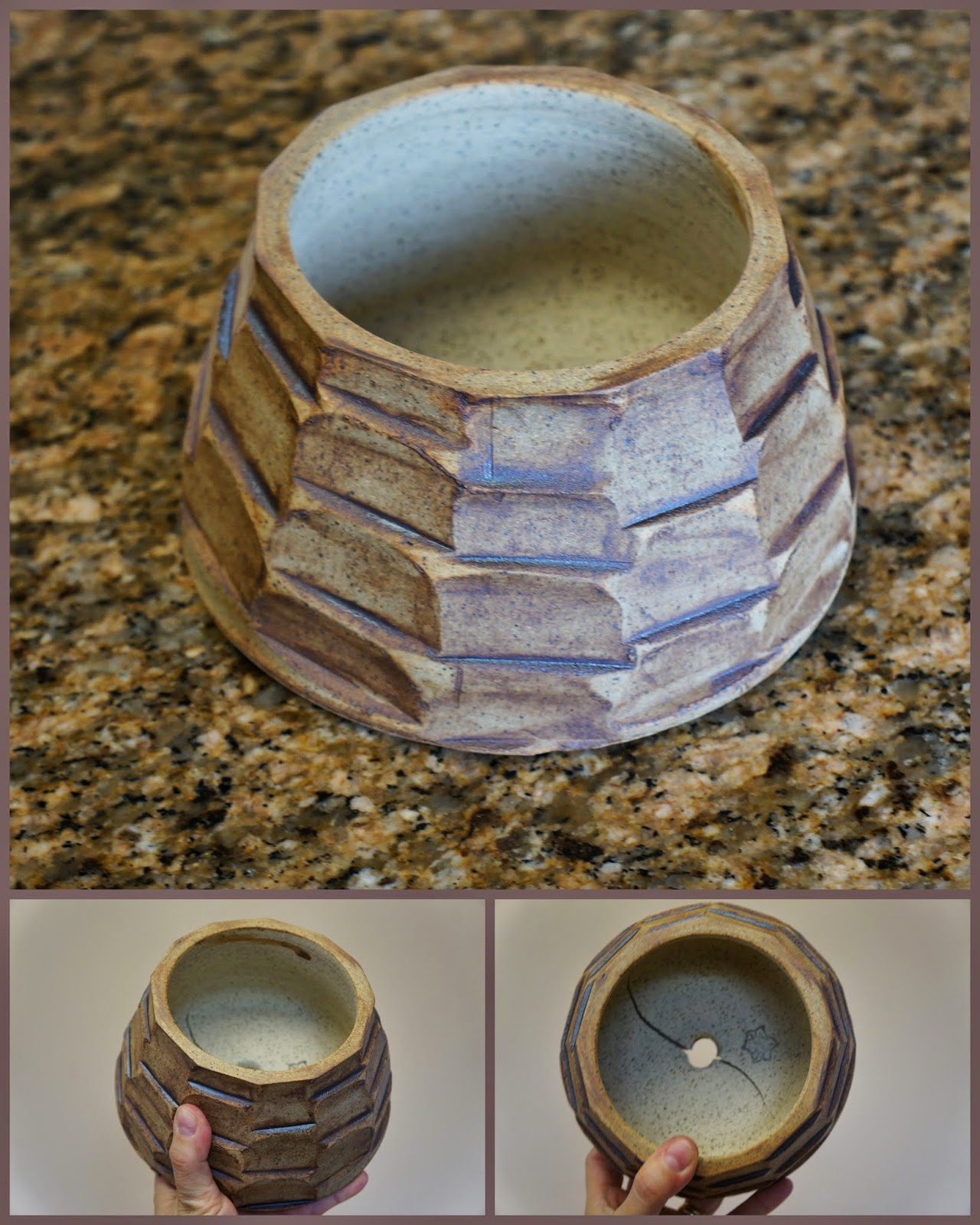 Handmade stoneware clay piece for the garden totem.