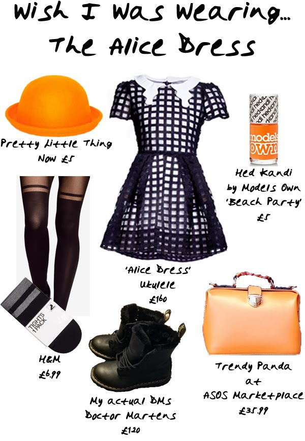 Wish I Was Wearing The Alice Dress orange bowler hat models own hm pretty little thing doctor Martens dr martens asos marketplace orange bag