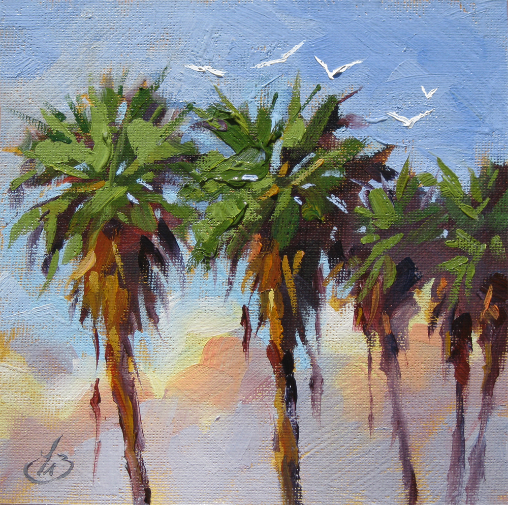 Tom brown fine art one dollar auction sea gulls palm for Painting palm trees