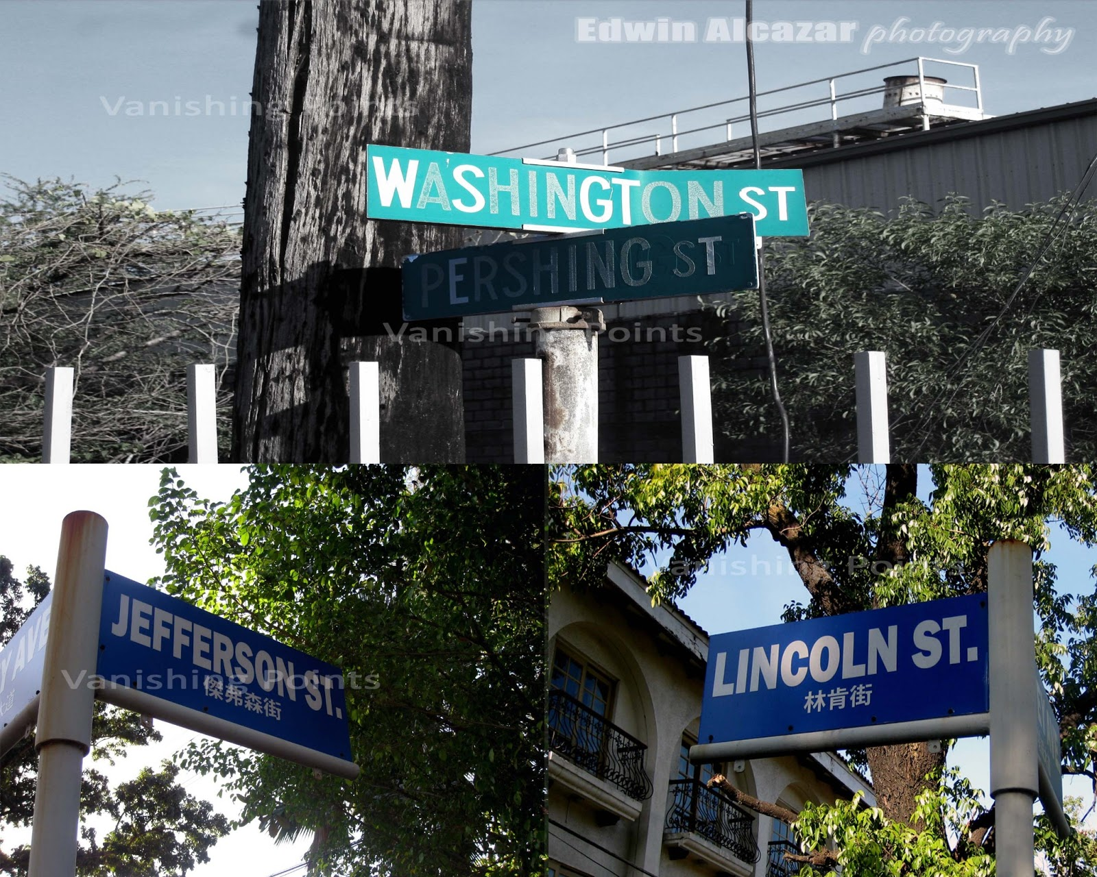 Street Markers. White on Green, original markers during US Navy days