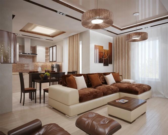 Hogares frescos de visa a su sala con tonos modernos y for Sala de estar marron