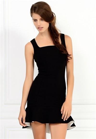 askılı elbise, dar elbise, siyah elbise, kısa elbise, arkası fermuarlı elbise, adil ışık elbise, 2015 elbise modelleri