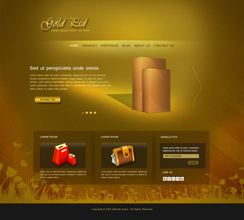 Photoshop Tutorial Web Design Gold Psd