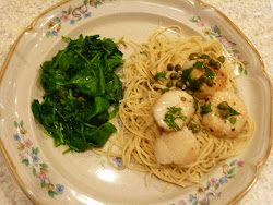 Scallop Piccata with Sauteed Spinach