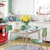 mint and red retro vintage kitchen