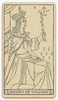 Queen of Wands card - inked illustration - In the spirit of the Marseille tarot - minor arcana - design and illustration by Cesare Asaro - Curio & Co. (Curio and Co. OG - www.curioandco.com)