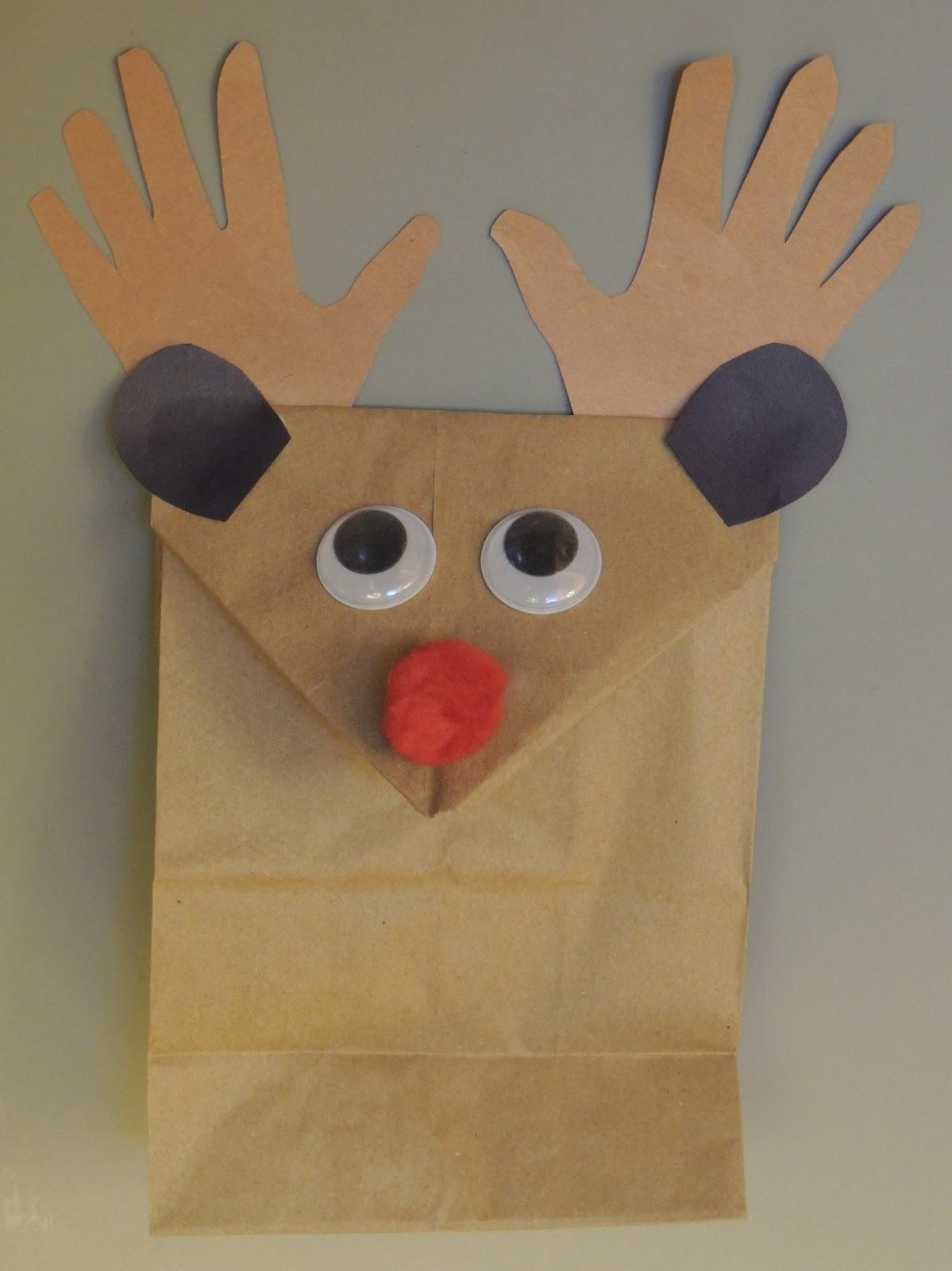 Brown Reindeer Antlers Template Using a brown paper lunch bag