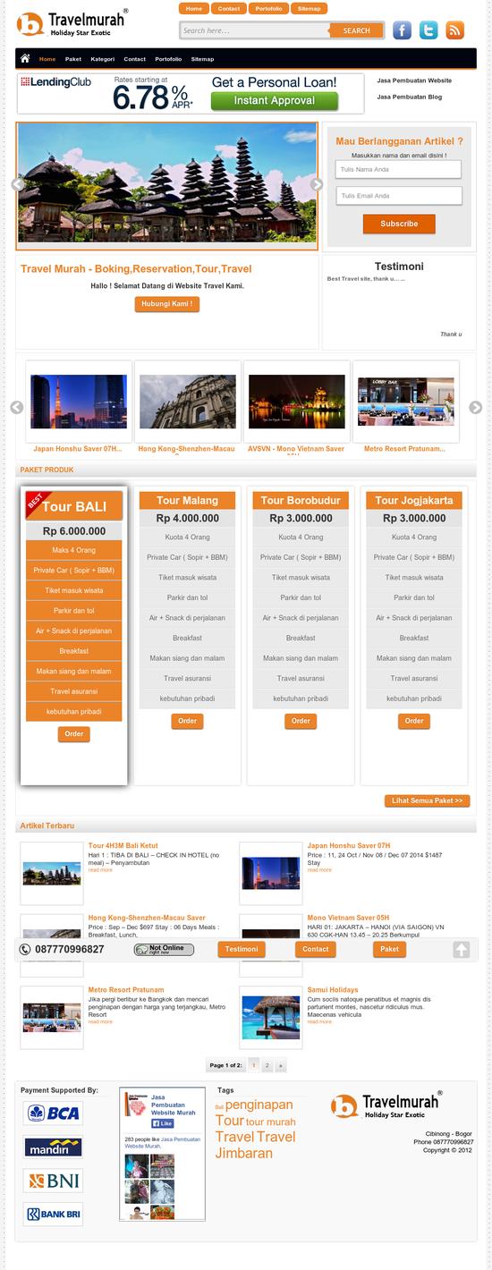jasa pembuatan website Website Tour & Travel