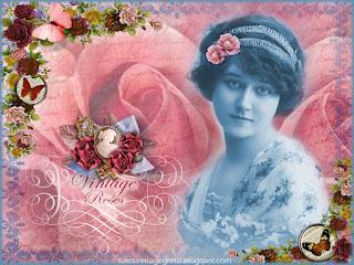fondo vintage con rosas y dama antigua