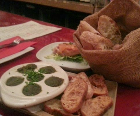 Sack of Bread, Escargot, Salmon Crostini