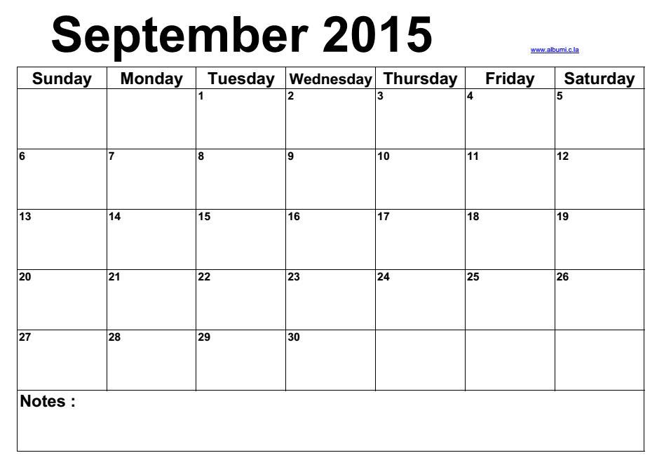 Blank calendar september 2015 | 2015 Blank Calendar - calendar en ...