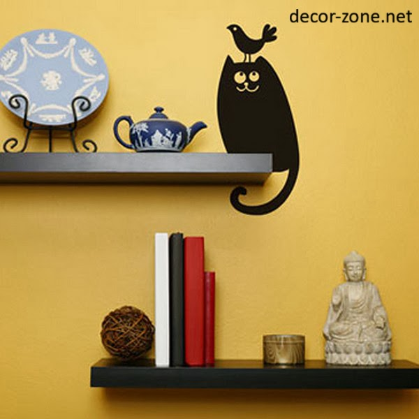Decorative Wall Shelves For Cats : Funny vinyl wall stickers for the cat lovers