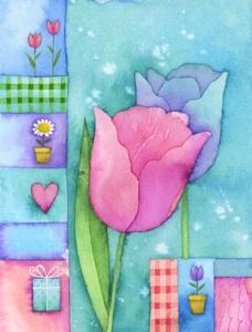 tulipanes de colores  Etiquetas para regalos de flores