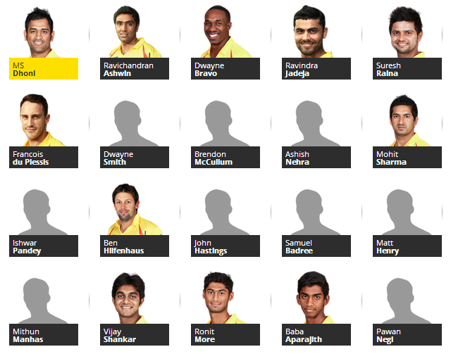 Chennai super kings team for IPL 2014.