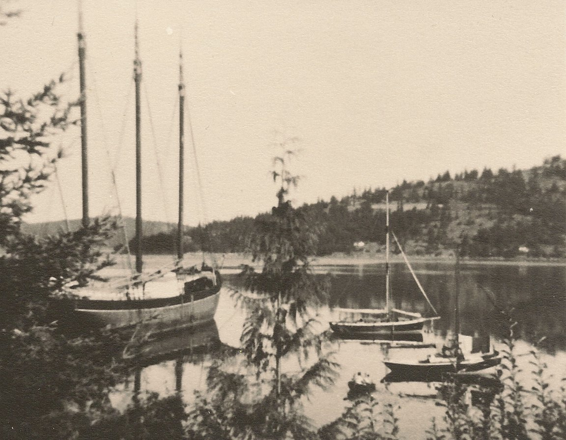 WAWONA at winter moorage, Clam Harbor, West Sound, Orcas Island, 1951.