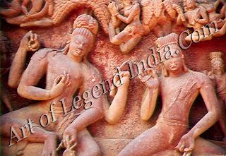 Nara-Narayana, the twin incarnations of Vishnu  Temple carving