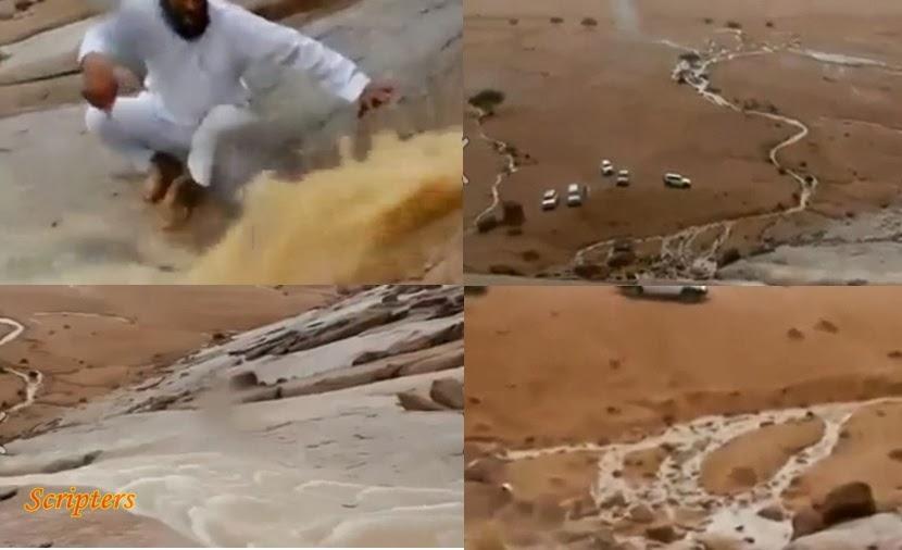 Video Air Terpancut Keluar Di Gurun Tanah Arab