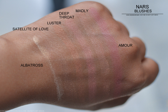 NARS Blush Albatross Satellite of Love Luster Deep Throat Madly Amour Swatches
