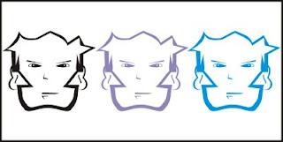 Rosto de personagem em preto, branco, azul bebê e ciano (desenho)