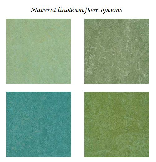 4 natural linoleum tiles in varying shades of green