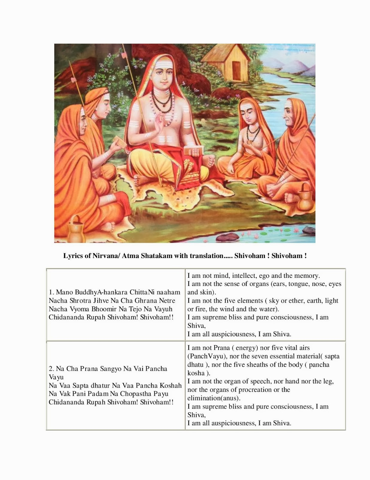 Nirvana Shatakam - In sanskrit with meaning