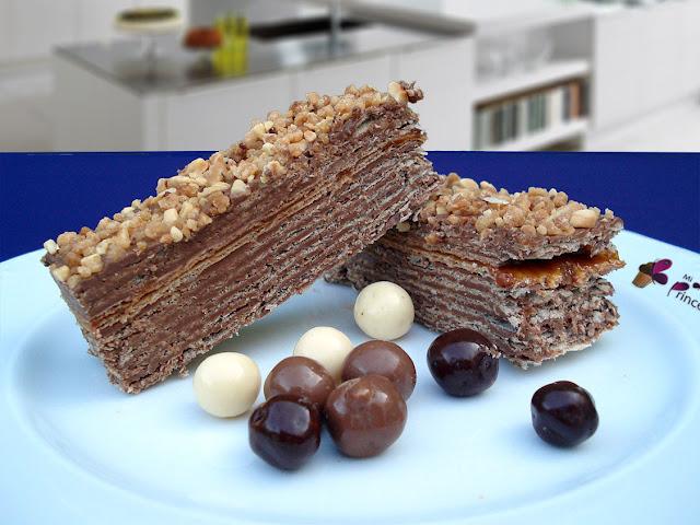 tarta, tarta de chocolate, obleas, crema de chocolate y avellanas, huesitos, tarta huesitos, tarta con obleas,