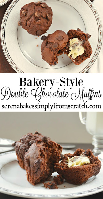 Bakery-Style Double Chocolate Muffins! These are so good and prefect for breakfast, brunch, Valentines Day, or Easter. serenabakessimplyfromscratch.com