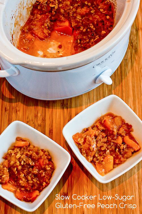 Slow Cooker Recipe for Low-Sugar and Gluten-Free Peach Crisp found on KalynsKitchen.com.