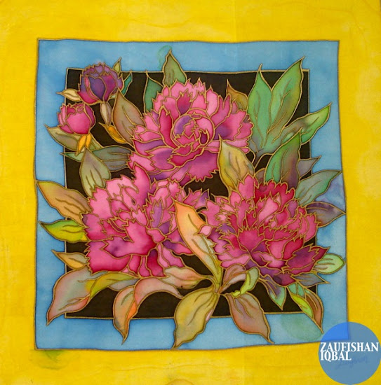 silk painting flower design