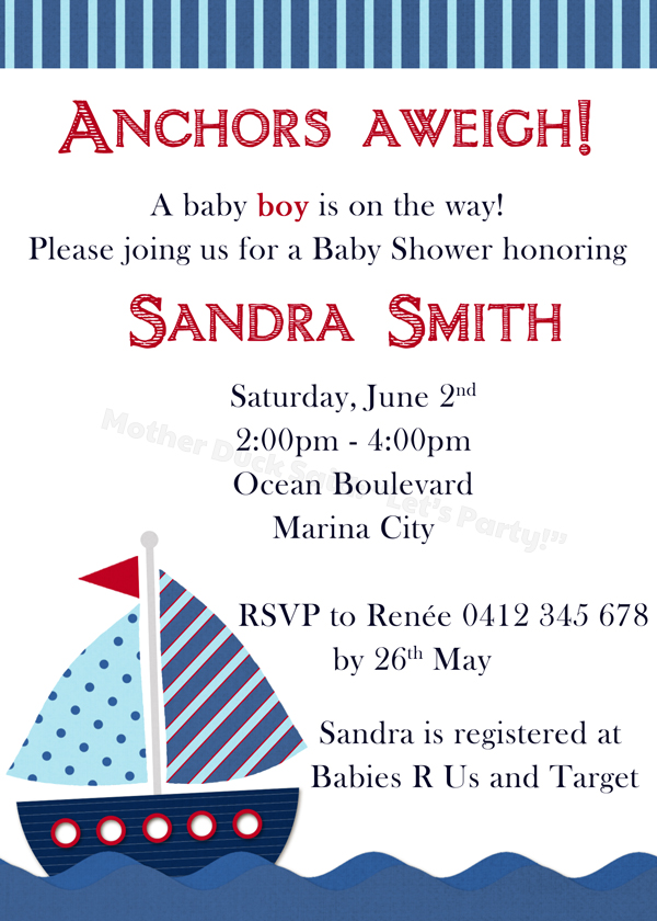 nautical baby shower invitations templates pictures to pin on, Baby shower invitations