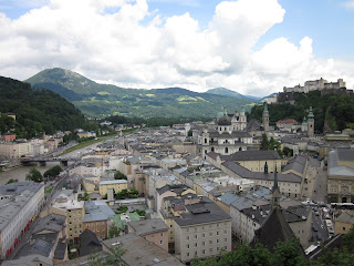 A panoramic view of Old City Salzburg with Hohensalzburg fortress overseeing the city