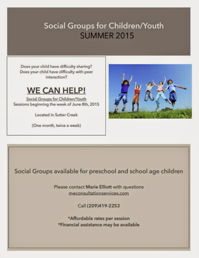 Summer Social Groups for Children/Youth begin June 8