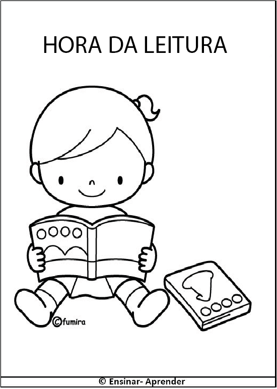 plaquinha para escola hora da leitura desenhos para colorir