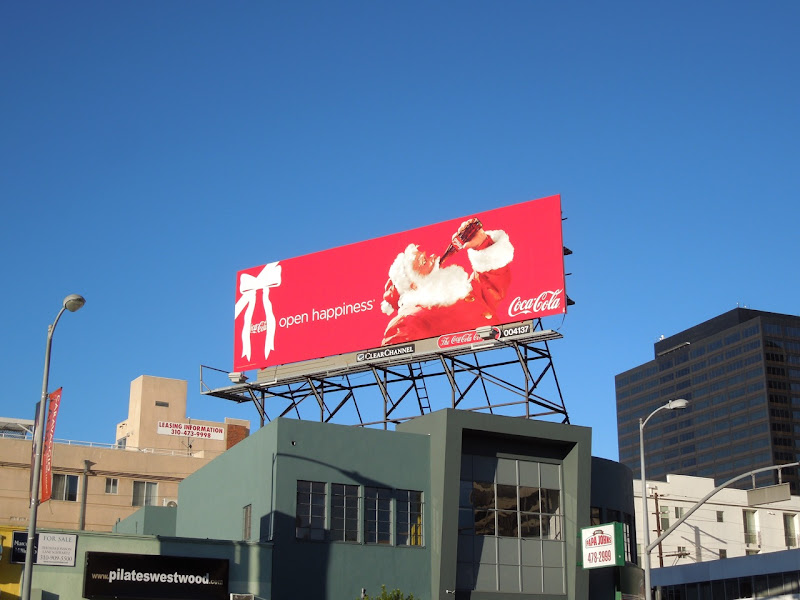Coke Open Happiness Santa billboard 2012