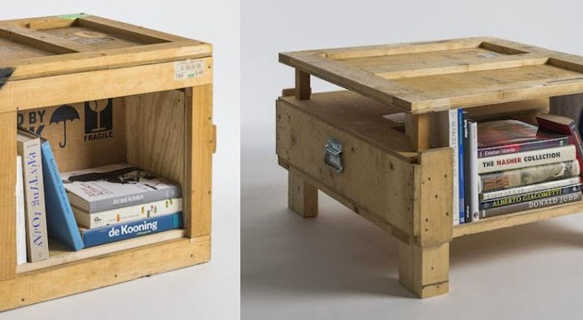 cajas de madera como estantes de libros y mesas