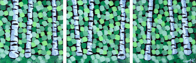 Mossy Forest Triptych, Aaron Kloss, Sivertson Gallery, Pointillism