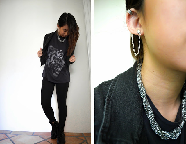 edgy rock grunge tiger muscle tee silver jewellery necklace earring chain cuff black leggings jacket moto topshop boots military laces