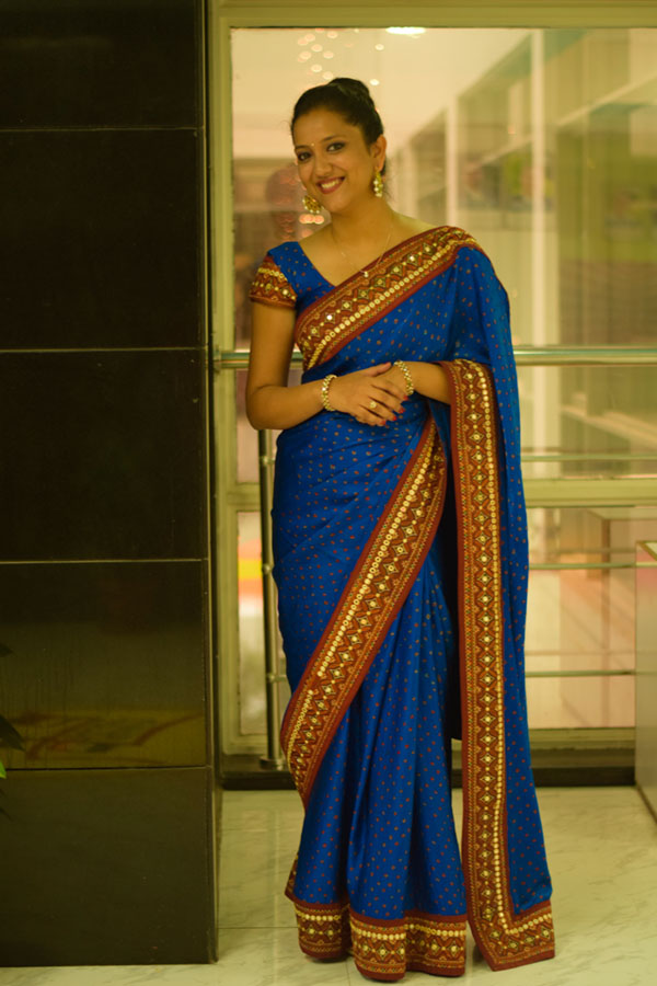 Ethnic indian look Blue Bandhani Kathiyawadi border saree