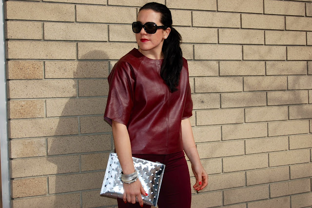 Burgundy leather Asos top, burgundy Topshop jeans, ela editor's pouch clutch and Prabal Gurung for Target heels