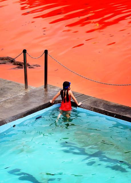 aguas rojas y niña mirando