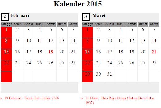 Umroh Februari 2015 lihat di kalender Februari - Maret 2015