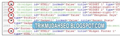 tombol panah kecil pada EDIT HTML template blogspot untuk mengurai kode