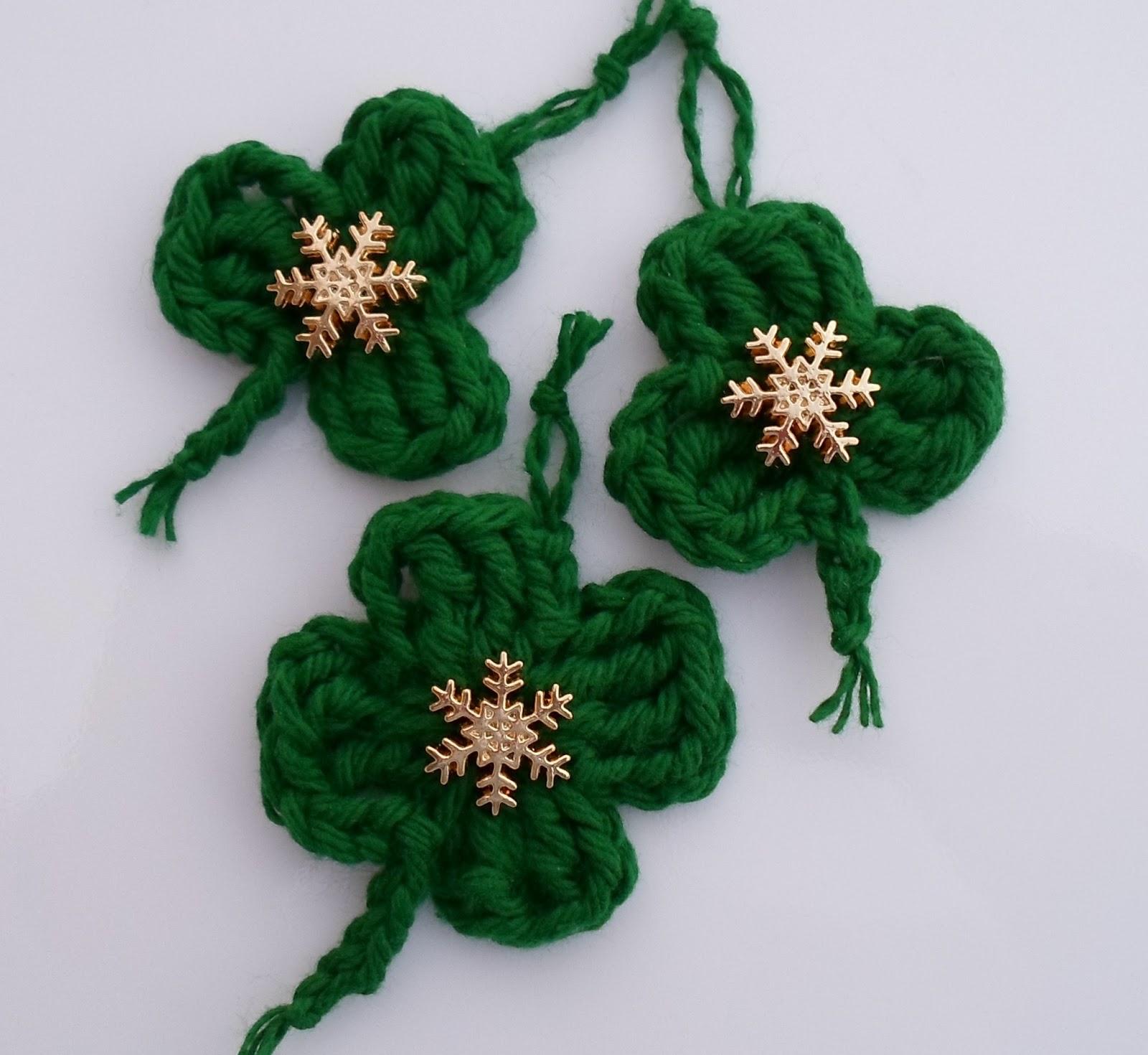 Crochet Shamrock Ornament, Pin or Embellishment