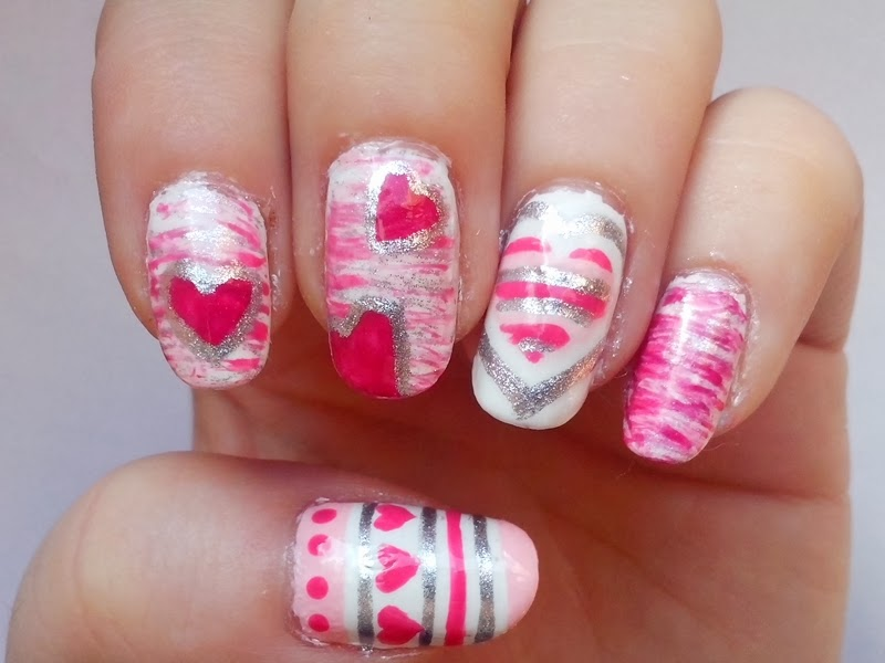 31DC2014 Day 12: STRIPES - Matching Manicure: Valentine's Day Nails 2