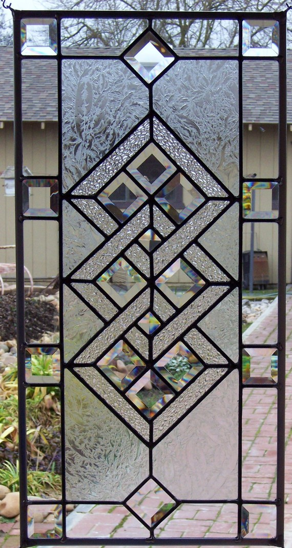 Boehm stained glass blog geometric bath windows pattern for Modern glass window design